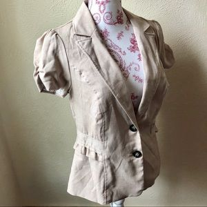 Stoosh Studio Short Sleeve Tailored Jacket S Tan
